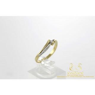 0.09 ct Diamanten Slagring Bicolor Geel en Witgoud 14 karaat