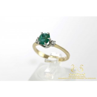Smaragd met Diamanten Geelgouden 14 Karaat Ring