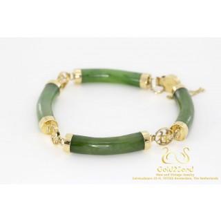 Jade armband met Chinese karakters 14 karaat geelgoud