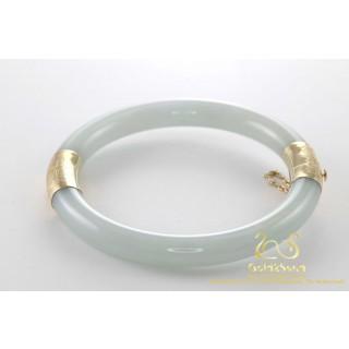 Witte Chrysopraas / Jade Armband met 14 karaat geelgoud