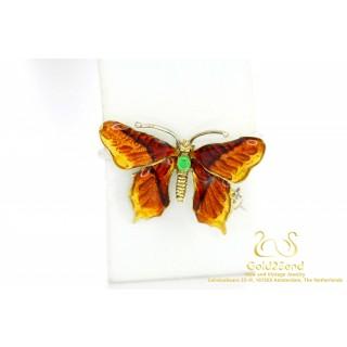 Geëmailleerd Vlinder Broche 18 Karaat Geelgoud