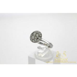 0.9 ct Rozet Diamanten Ring met vier Princessen 18 karaat Witgoud