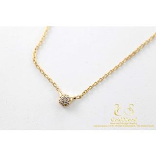 Pandora Rosegoud Collier met Diamanten vaste hanger Ketting