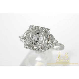 0.89 CT Baguette en Briljant Witgouden Diamanten Ring 18 karaat