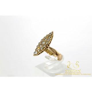 Marquise Vorm Briljant Diamanten Ring Rosegoud 18 karaat
