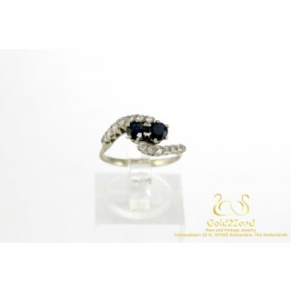 2 Blauw Saffier met Diamanten Witgouden Ring 14 karaat