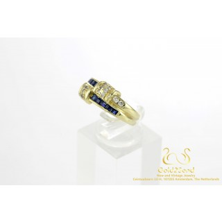 Blauw Saffier met Diamanten Geelgouden Ring 14 karaat