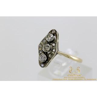 Art Deco Style Diamanten Ring 14 karaat geelgoud