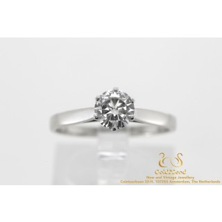 0.74 Solitair Briljant Diamanten Ring witgoud 14 karaat
