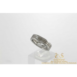 0.07 ct Platina en Witgoud 18 karaat Baguette Ring