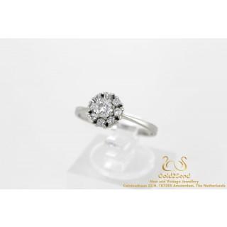 0.46 ct 9 Diamanten Rozet Ring Witgoud 18 karaat