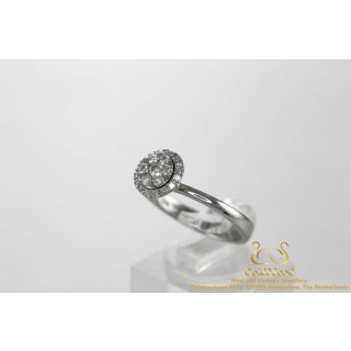 0.42 ct Rozet Diamanten Ring 18 karaat Witgoud