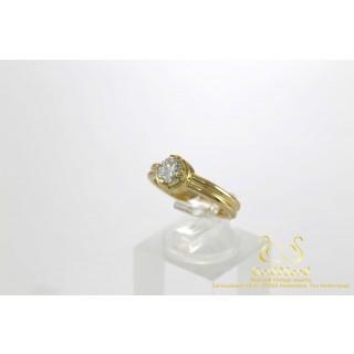 0.57 ct Solitair Diamant Ring Geelgoud 14 karaat