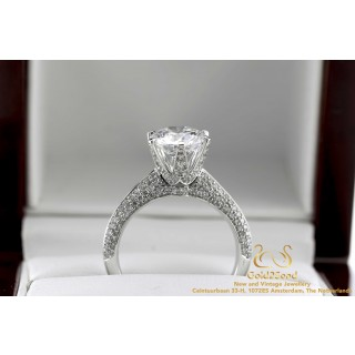 2 CT D VVS Diamond Ring 18 karat White gold