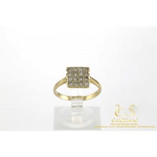 Vierkant Diamanten Ring 16 Diamanten 18 karaat Geelgoud