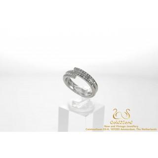 Spiraalring Diamanten Ring 18 karaat Witgoud