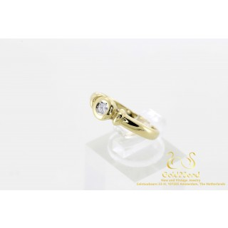 Solitair diamanten ring 0.15 ct geelgoud 14 karaat