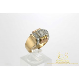 Retro Bicolor Rose en Witgoud Ring Herenring 18 karaat