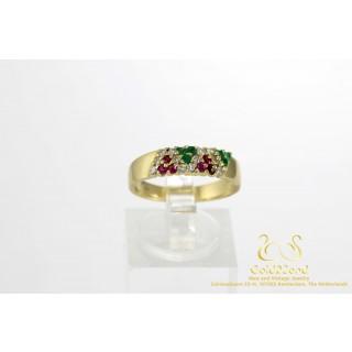 Groen & Rood Saffier met Diamanten Geelgouden Ring 14 karaat