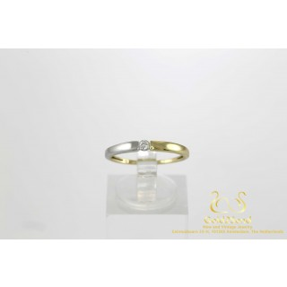 0.07 ct Diamanten Solitair Ring Bicolor Geel en Witgoud 14 karaat