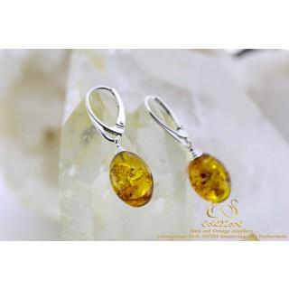 Amber barnsteen Golden Egg zilveren oorbellen 15 x 11mm