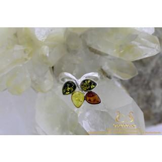 Amber BarnsteenTricolor Leaf zilveren ring