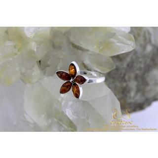 Barnsteen Amber Bloem Flower zilveren ring