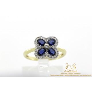 Blauw saffier diamanten geelgouden ring 14 karaat