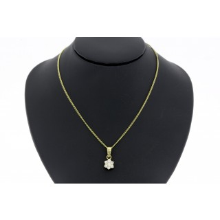 Rozet 0.35 ct diamanten hanger met collier 14 karaat geelgoud