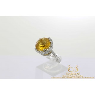 Diamanten citrien ring witgoud