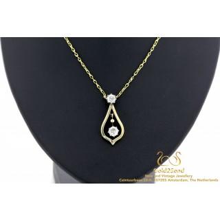 Diamanten vintage geelgouden hanger met collier