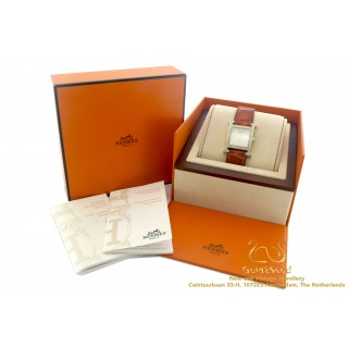 Diamond Hermes Heure H watch Leather Box Papers