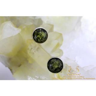 Groen amber Barnsteen Rond zilveren oorstekers met rand 10mm