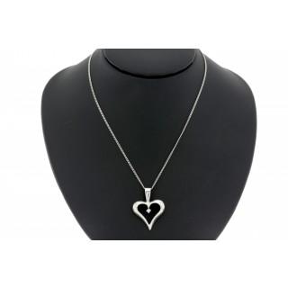 Hart hanger met collier en diamant 0.01 ct 14 karaat witgoud