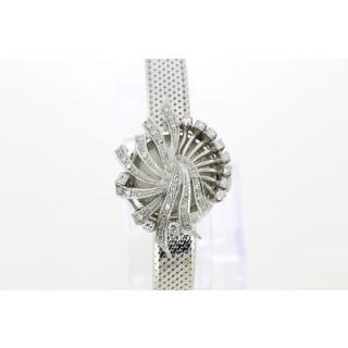 Longines Vintage Diamanten witgouden dames polshorloge Zilver Wijzerplaat 18mm