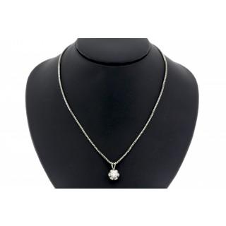 0.25 ct Solitair diamanten hanger met collier 14 karaat witgoud