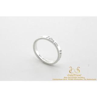 Tiffany & Co I Love You Tiffany Notes Ring 925 Silver Size 51