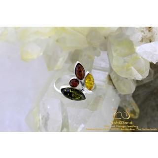 Tricolor 4 steens barnsteen zilveren ring