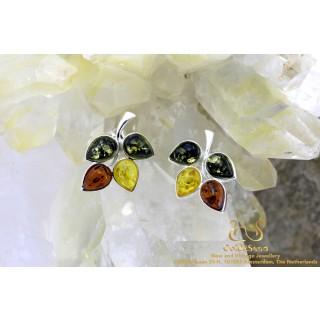 Tricolor Flower barnsteen zilveren oorstekers