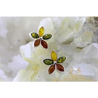 Tricolor Leaf barnsteen zilveren oorstekers