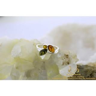 Tricolor trinity barnsteen zilveren ring