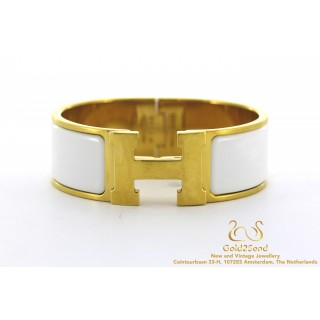 Witte hermes Clic Clac armband