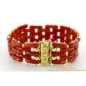5 Row Red Coral Tank Bar Link Bracelet 2.2 x 18.5cm 18 karat yellow gold