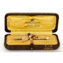 Ruby Diamond Blue Sapphire Pearl Brooche 14 karat Gold