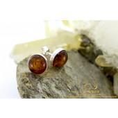 Amber barnsteen Rond zilveren oorstekers met rand 10mm