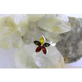 Barnsteen Amber Tricolor Flower zilveren ring