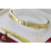 Cartier geelgoud diamanten Love armband maat 19