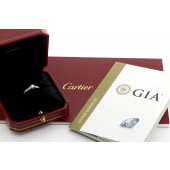 Cartier Solitaire 1895 Ring 950 Platinum 0.31CT Total 0.62CT Size 52