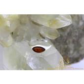 Ovaal barnsteen zilveren ring